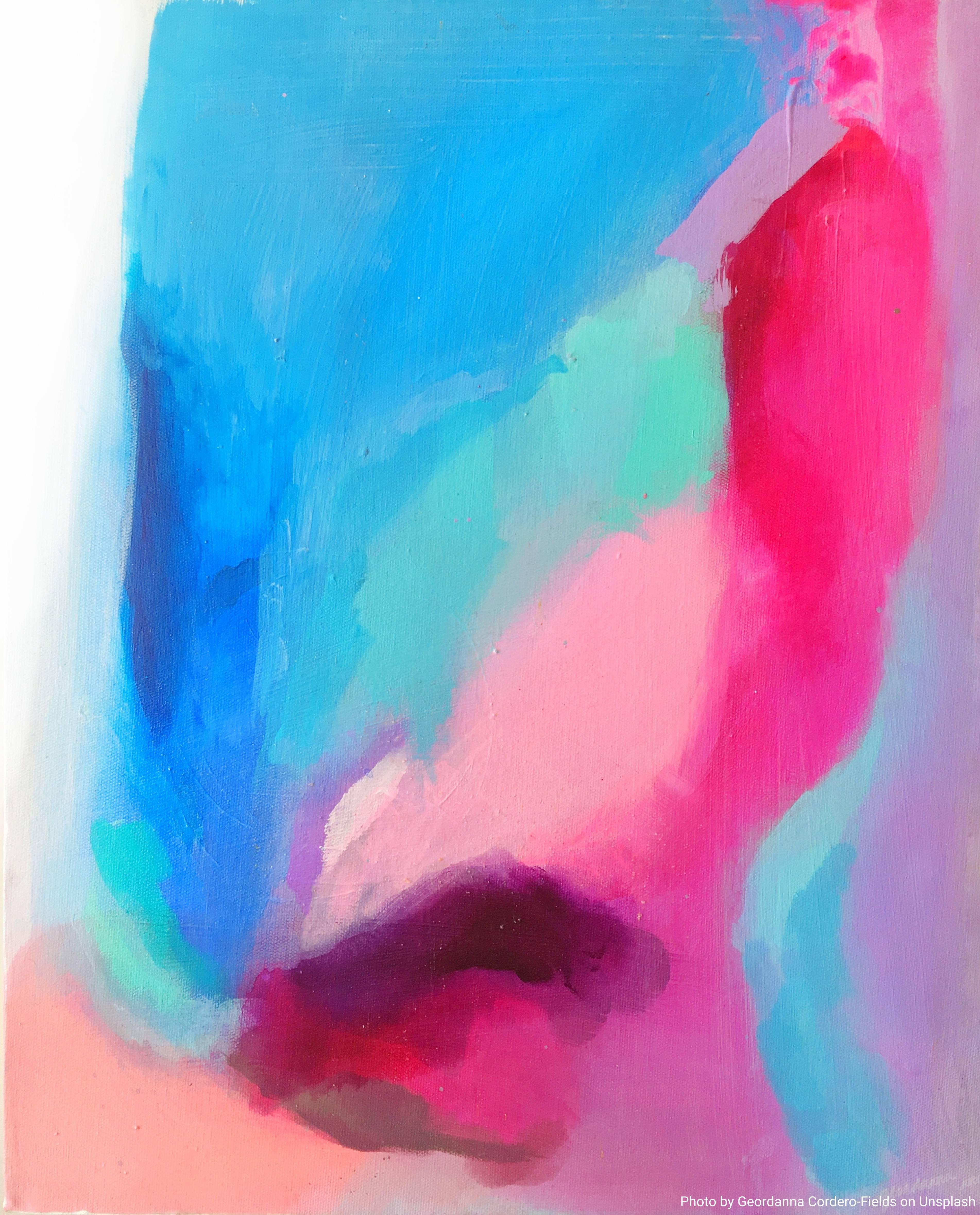 Arte astratta con sfumature di rosa e blu