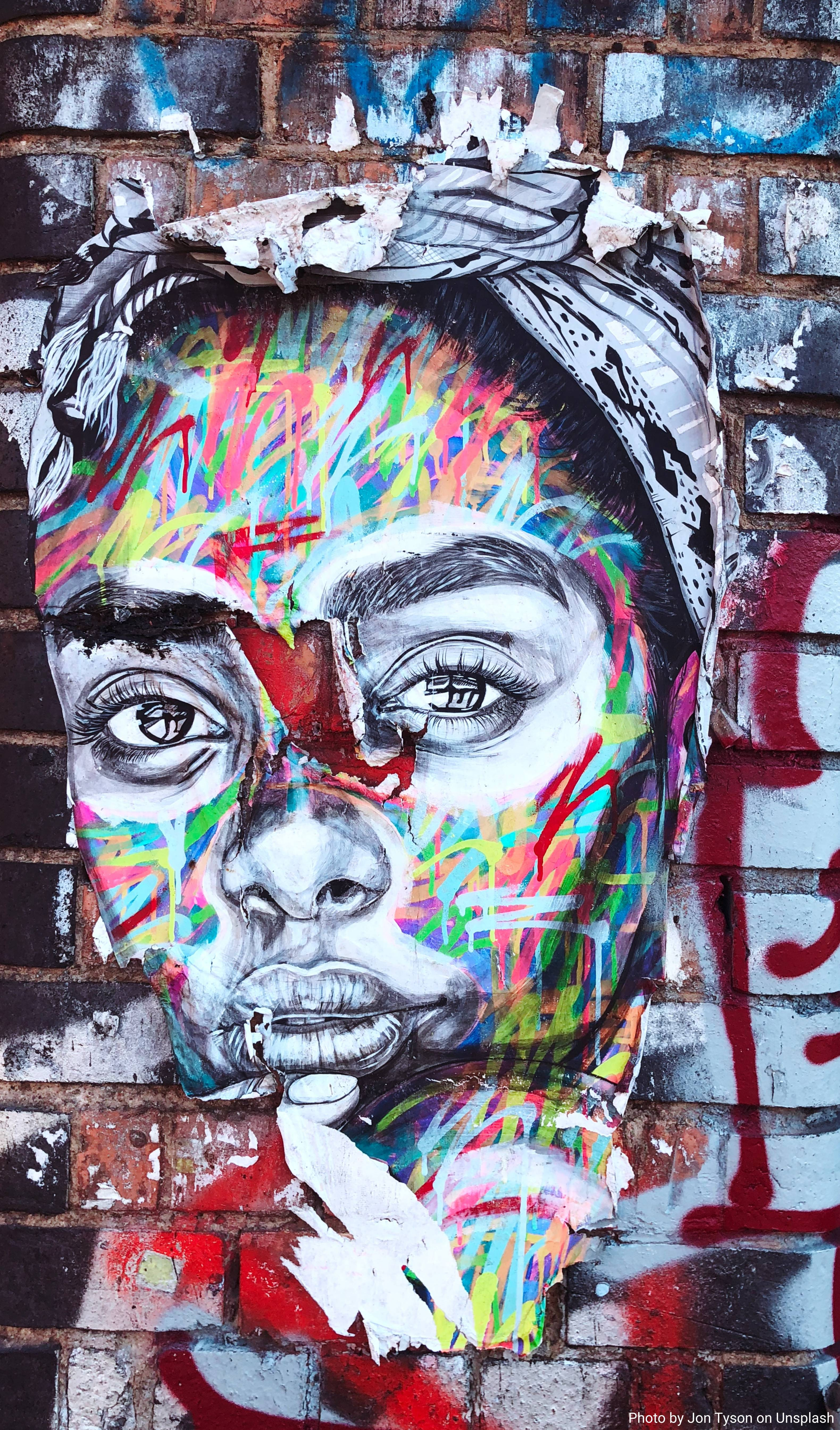 Street art image of a woman