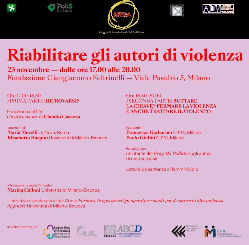 Locandina dell'evento Riabilitare gli autori di violenza